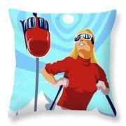 Ski Bunny Retro Ski Poster Throw Pillow