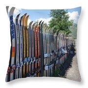 Ski Fence Throw Pillow