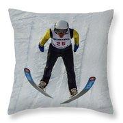 Ski Jumper 3 Throw Pillow