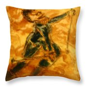 Ski Lady - Tile Throw Pillow