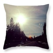 Ski Lodge Road Throw Pillow