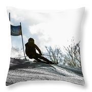 Ski Racer Backlit Throw Pillow