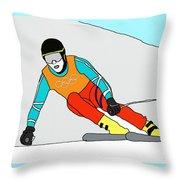 Skier Throw Pillow