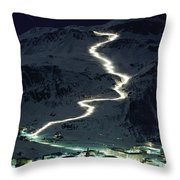 Skiers Bearing Torches Ski Down Mont Throw Pillow