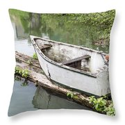 Skiff And Motor Throw Pillow