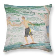Skim Boarding Daytona Beach Throw Pillow