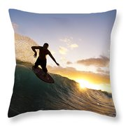 Skimboarding At Sunset I Throw Pillow