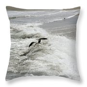 Skimmer And Waves Throw Pillow