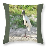 Skinny Wood Stork Throw Pillow