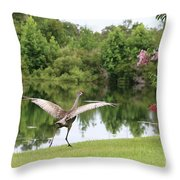 Skipping Sandhill Crane By Pond Throw Pillow