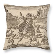 Skirmish In A Roman Circus Throw Pillow