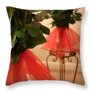 Skirted Roses In Mirror Throw Pillow