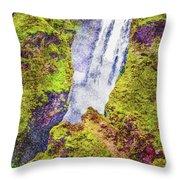 Skogafoss Waterfall #10 Throw Pillow