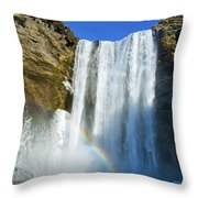 Skogafoss Waterfall Iceland In Winter Throw Pillow