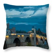 Skopje Stone Bridge Throw Pillow