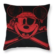 Skull And Bones Mickey In Red Throw Pillow