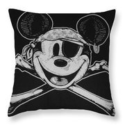 Skull And Bones Mickey  Throw Pillow