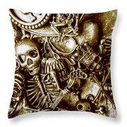 Skull And Cross Bone Treasure Throw Pillow