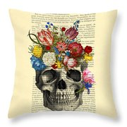 Skull With Flowers Vintage Illustration Throw Pillow by Madame Memento