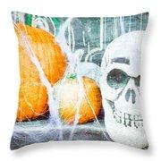 Skull And Pumpkin Throw Pillow