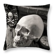Skull And Skeleton Key Throw Pillow by Garry Gay