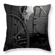 Skull And Wagon Throw Pillow