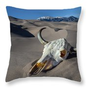 Skull At The Great Sand Dunes Throw Pillow