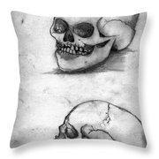 Skull Drawing Throw Pillow