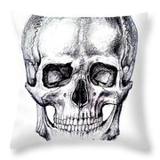 Skull Drawing Throw Pillow