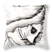 Skull Gambler Throw Pillow