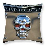 Skull License Plate Throw Pillow