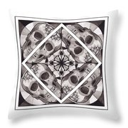 Skull Mandala Series Number Two Throw Pillow by Deadcharming Art