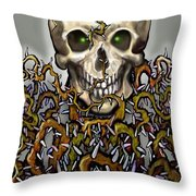 Skull N Thorns Throw Pillow