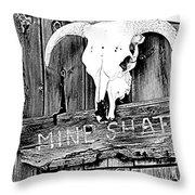 Skull On Wood Throw Pillow