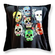 Skull T Shirts Day Of The Dead  Throw Pillow