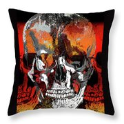 Skull Times Three Throw Pillow