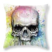 Skull Watercolor Rainbow Throw Pillow