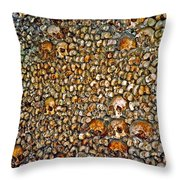 Skulls And Bones Under Paris Throw Pillow