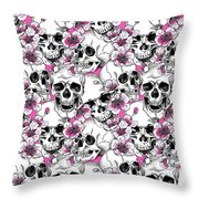 Skulls And Red Flowers Throw Pillow