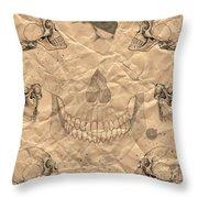 Skulls In Grunge Style Throw Pillow