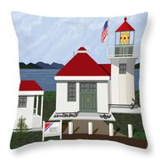 Skunk Bay Lighthouse Throw Pillow