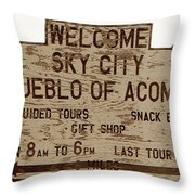 Sky City Sign Throw Pillow