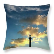 Sky Clouds And Statue In Stuttgart Germany Throw Pillow