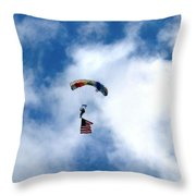 Skydiver With Flag Throw Pillow