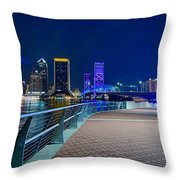 skyline and river coast scenes in Jacksonville Florida Throw Pillow