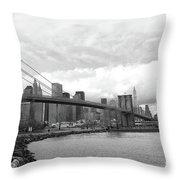 Skyline Nyc Brooklyn Bridge Bw Throw Pillow