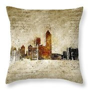 skyline of Atlanta in modern and abstract vintage-look Throw Pillow