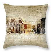 skyline of Denver in modern and abstract vintage-look Throw Pillow