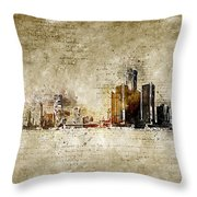 skyline of Detroit in modern and abstract vintage-look Throw Pillow