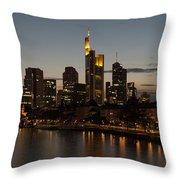 Skyline Of Frankfurt City In Twilight Throw Pillow